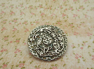 Handcrafted silver brooch Floral abstrac