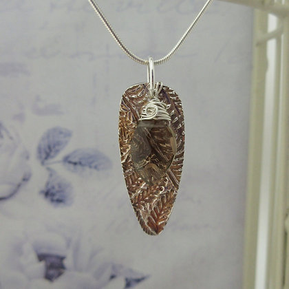 Handcrafted Silver Leaf Pendant with Smokey Quartz