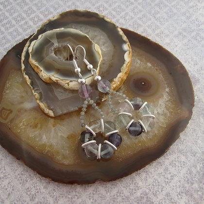 Fluorite Lifebuoy Earrings, Silver Plated
