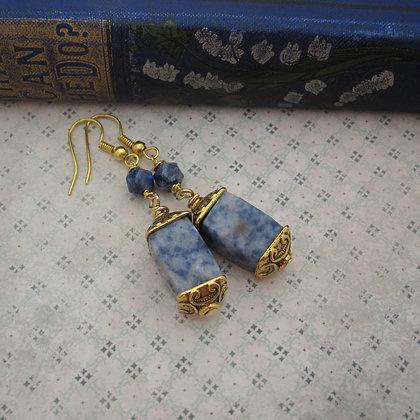 Blue Jasper Gold Plated Pagoda Earrings