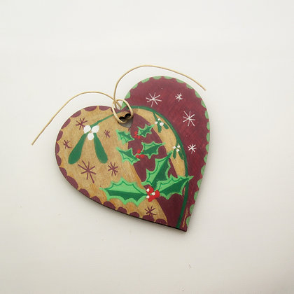 Hand-painted Wooden Decoration: Winter Love