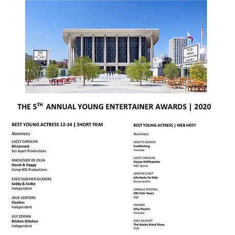 I AM NOMINATED for the 2020 Young Entert