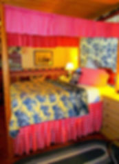 Immigrant Room bedroom - A patriotic-americana  theme dominated by reds, blues, yellows and whites.