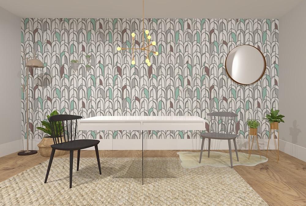 mesa jantar com gavetas, laca branca e pés em vidro. Papel de parede exclusivo A.Brand