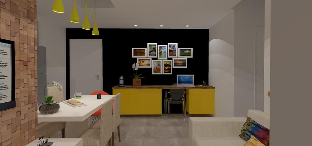 Sala de TV, home office e sala de jantar