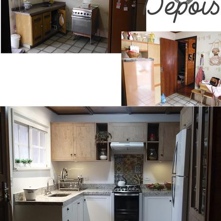 Antes e depois dessa cozinha de campo!
