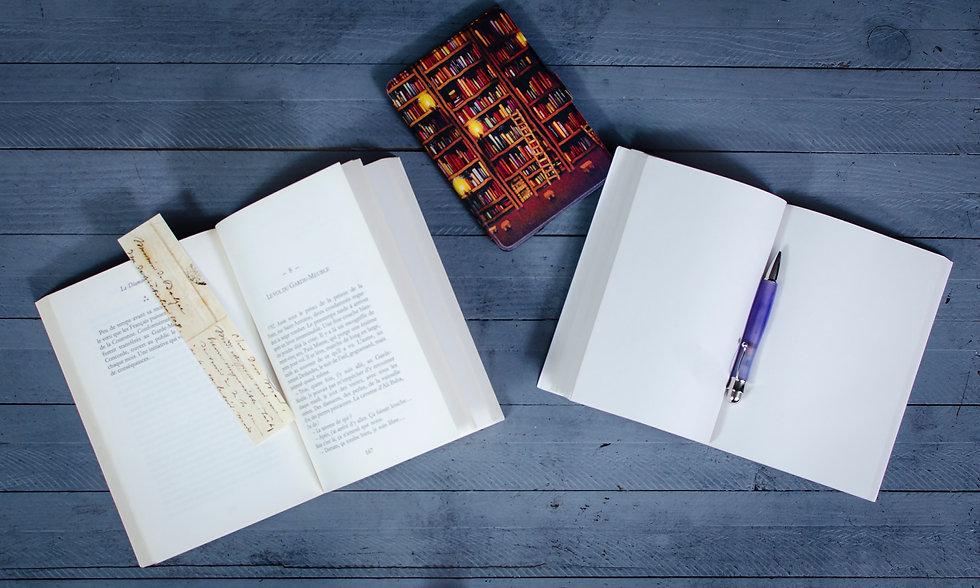 L'image représente un livre ouvert, une liseuse et un carnet vierge qu'il ne reste plus qu'à remplir