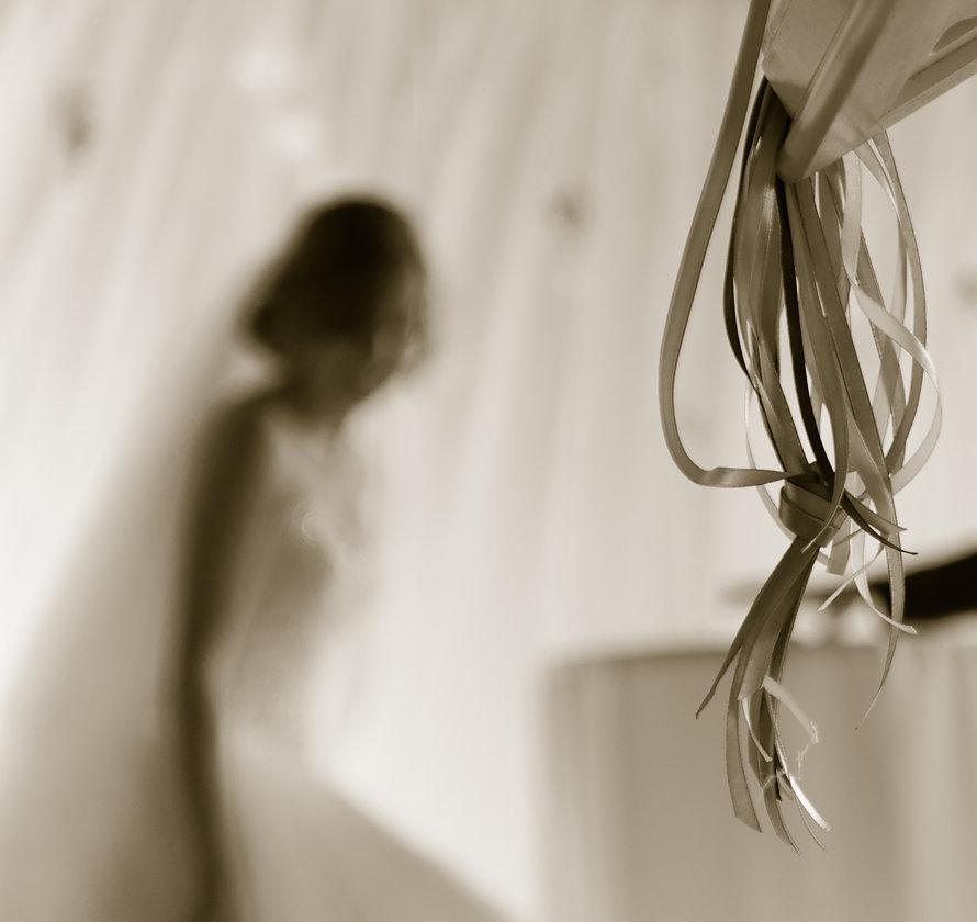 L'image représente la silhouette d'une mariée lors d'une cérémonie laïque.