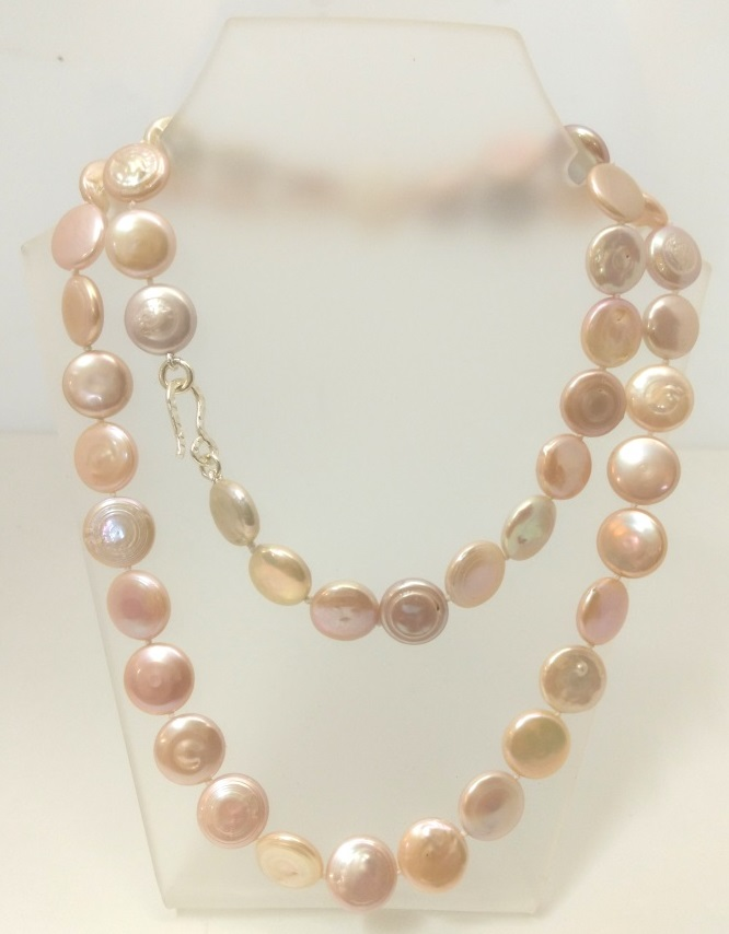 Pink Coin Pearl Opera Necklace