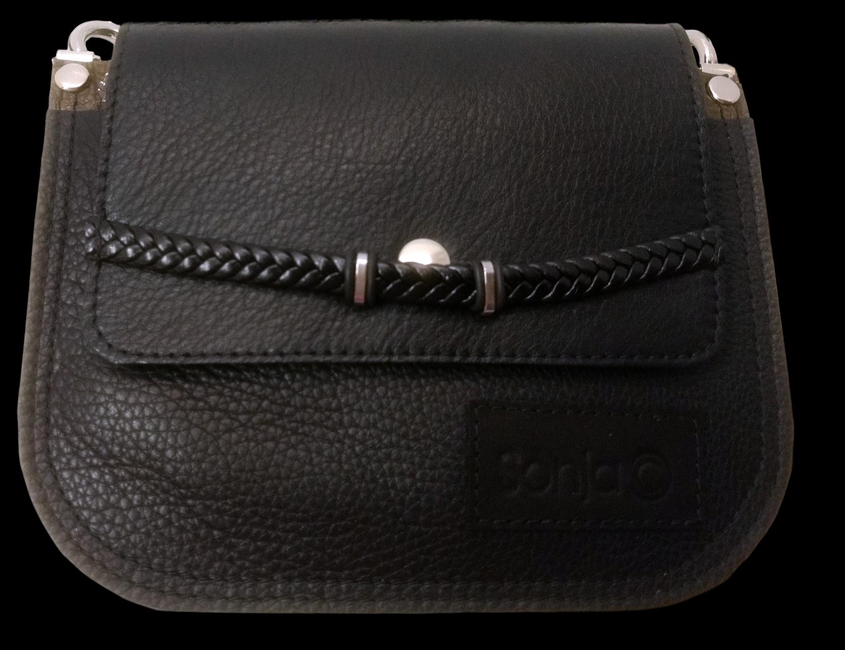 Black with Braid Leather Pocket Bag