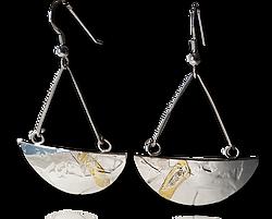 Silver, 9ctGold Half Circle Earrings