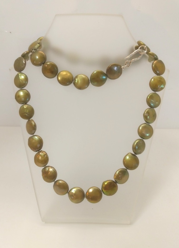 Antique Gold Coin Pearl Necklace