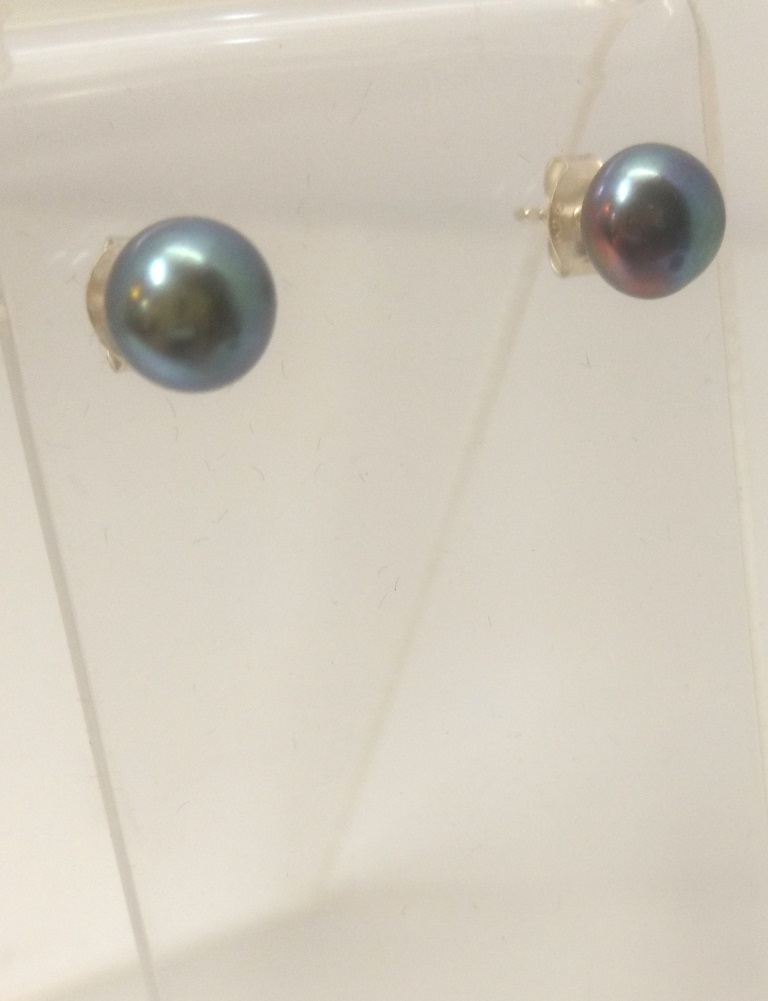Small Dark Grey Pearl Studs