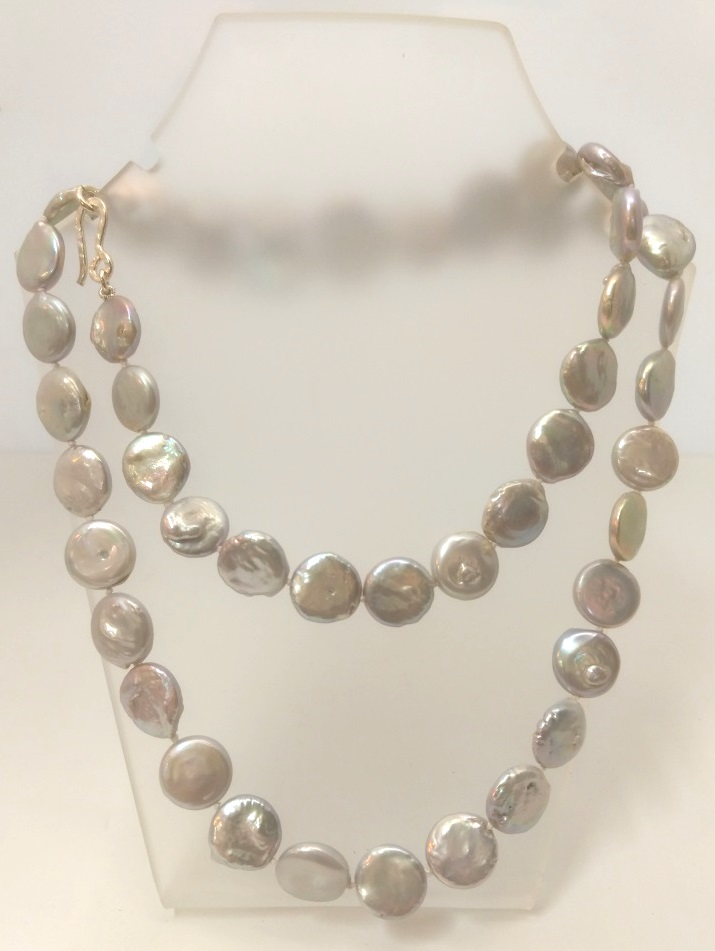 Silver Coin Pearl Opera Necklace