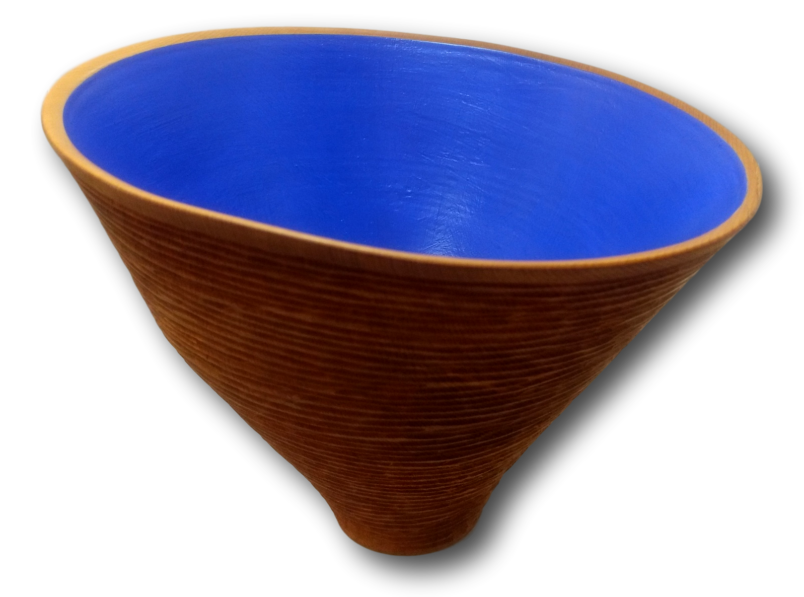 Blue Celery Top Pine Off Centre Bowl