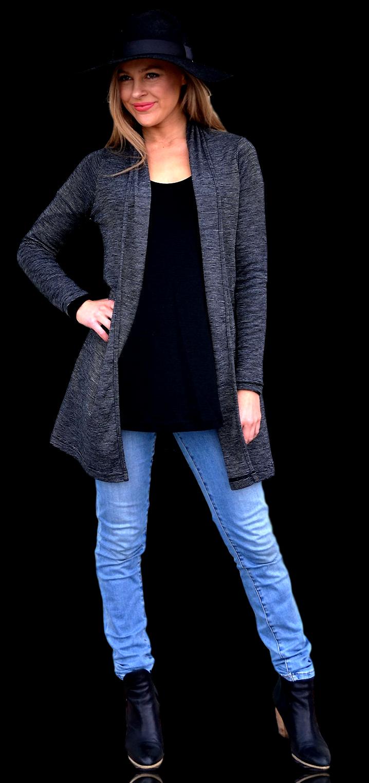 Black Pinstripe Drape Cardigan
