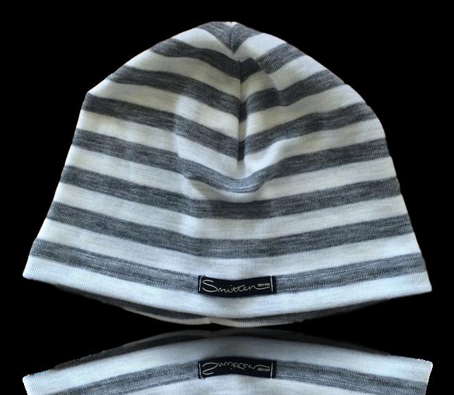 Ivory Grey Stripe Beanie