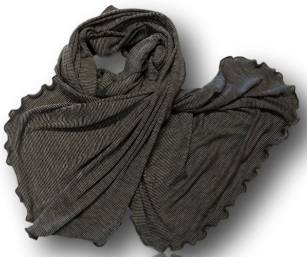 Grey Pinstripe Wide Scarf