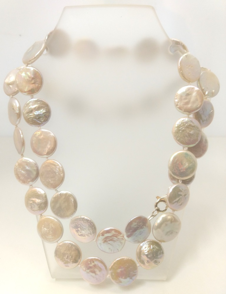 Lrg White Coin Pearl Opera Necklace
