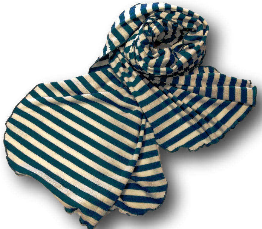 Ivory Teal Stripe Wide Scarf