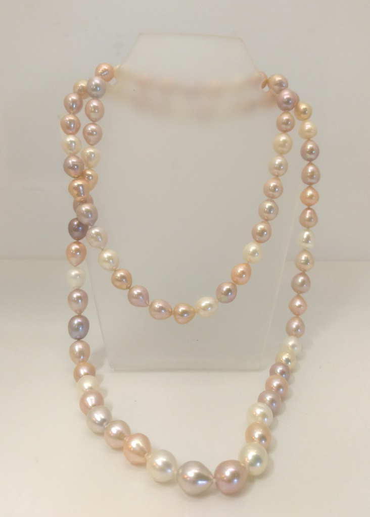 Multi Pink Pearl Opera Necklace