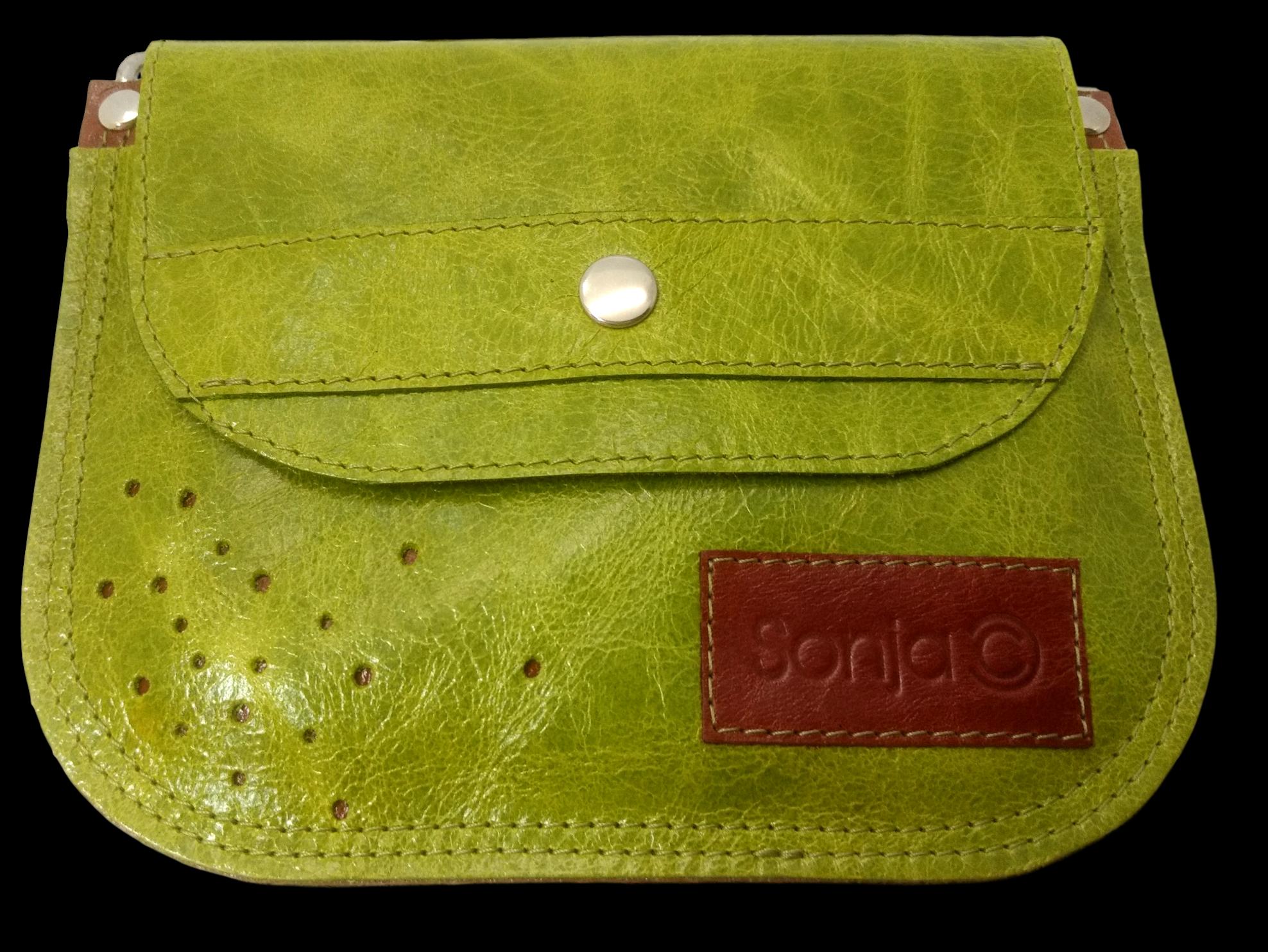 Lime & Tan Pocket Bag