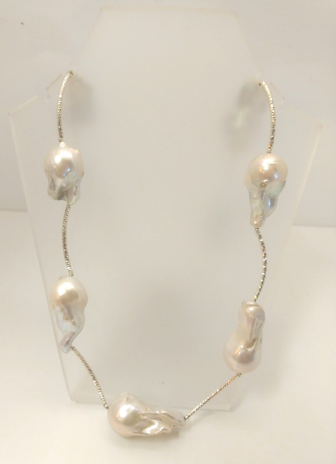 Flame Pearl Sterling Silver Necklace
