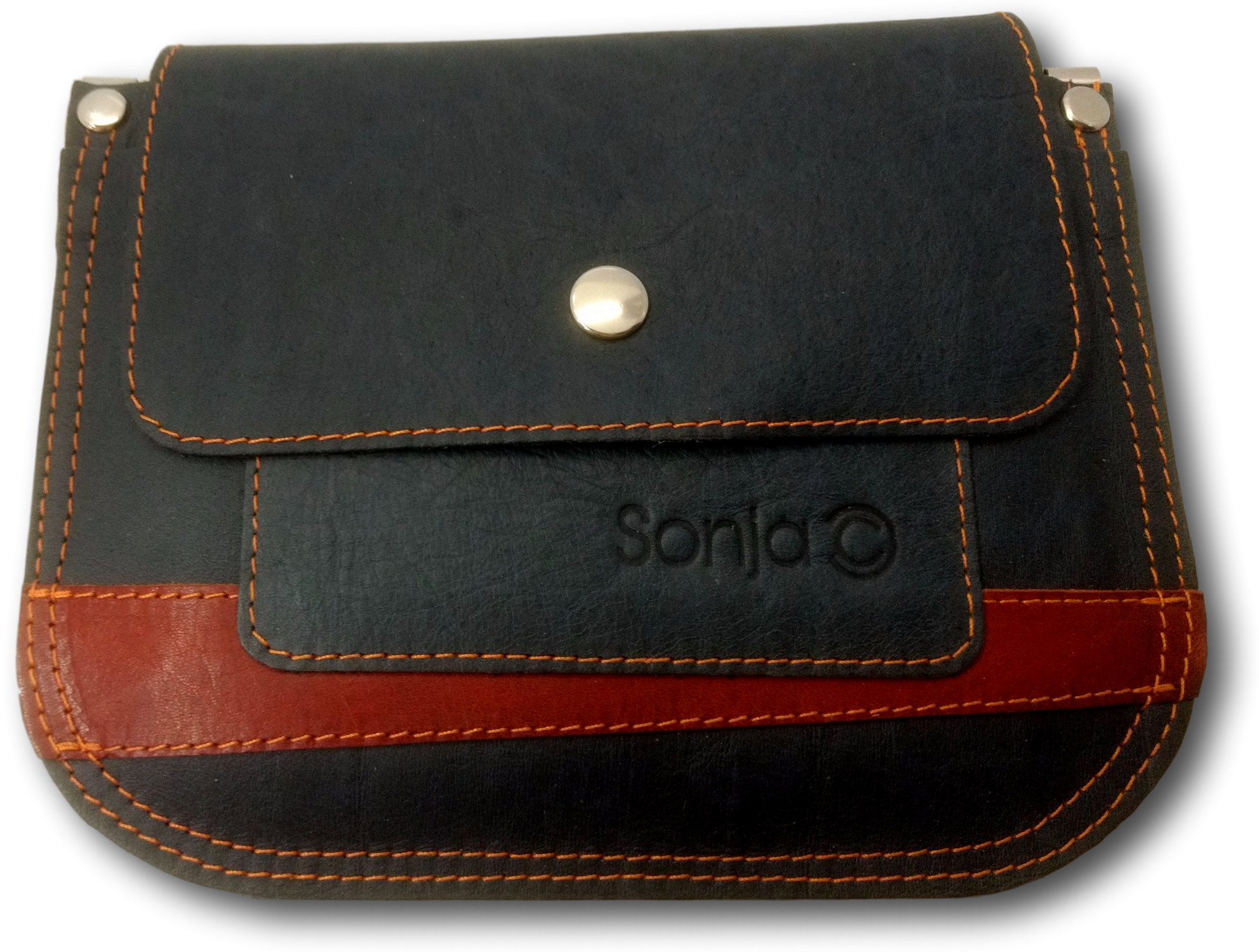 Charcoal & Tan Leather Pocket Bag