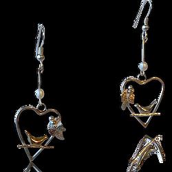 Valentines Heart Bird Earrings