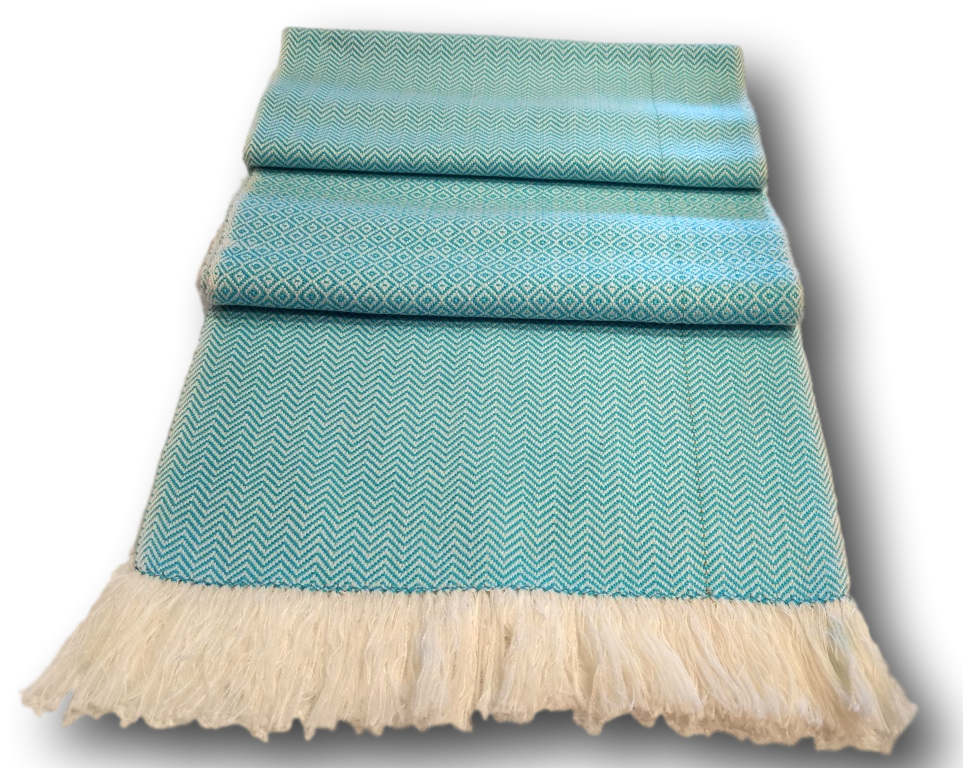 2 Ply Twill Aqua White Scarf Wool &