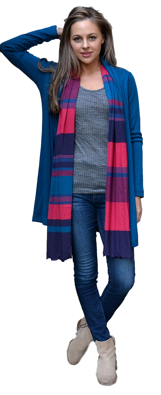 Grape Multi Stripe Wide Scarf