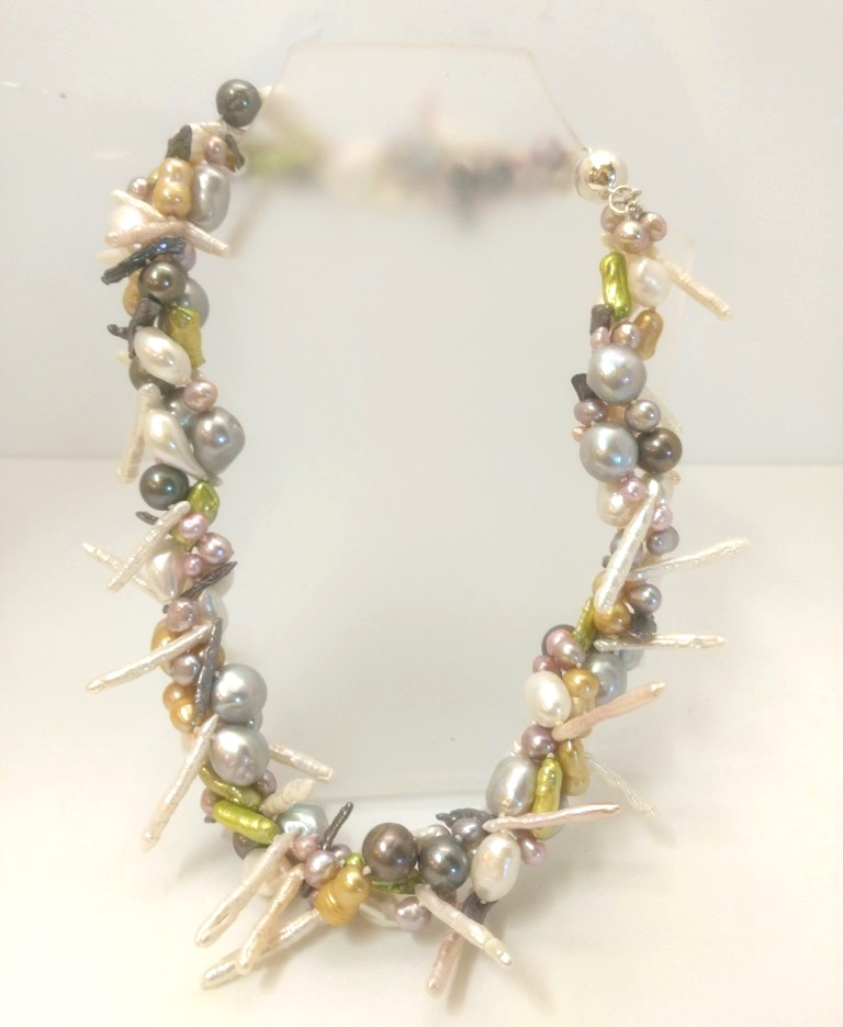 Triple Twist Multi Pearl Necklace