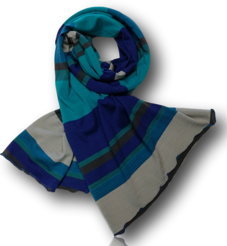 Teal Multi Stripe Wide Scarf