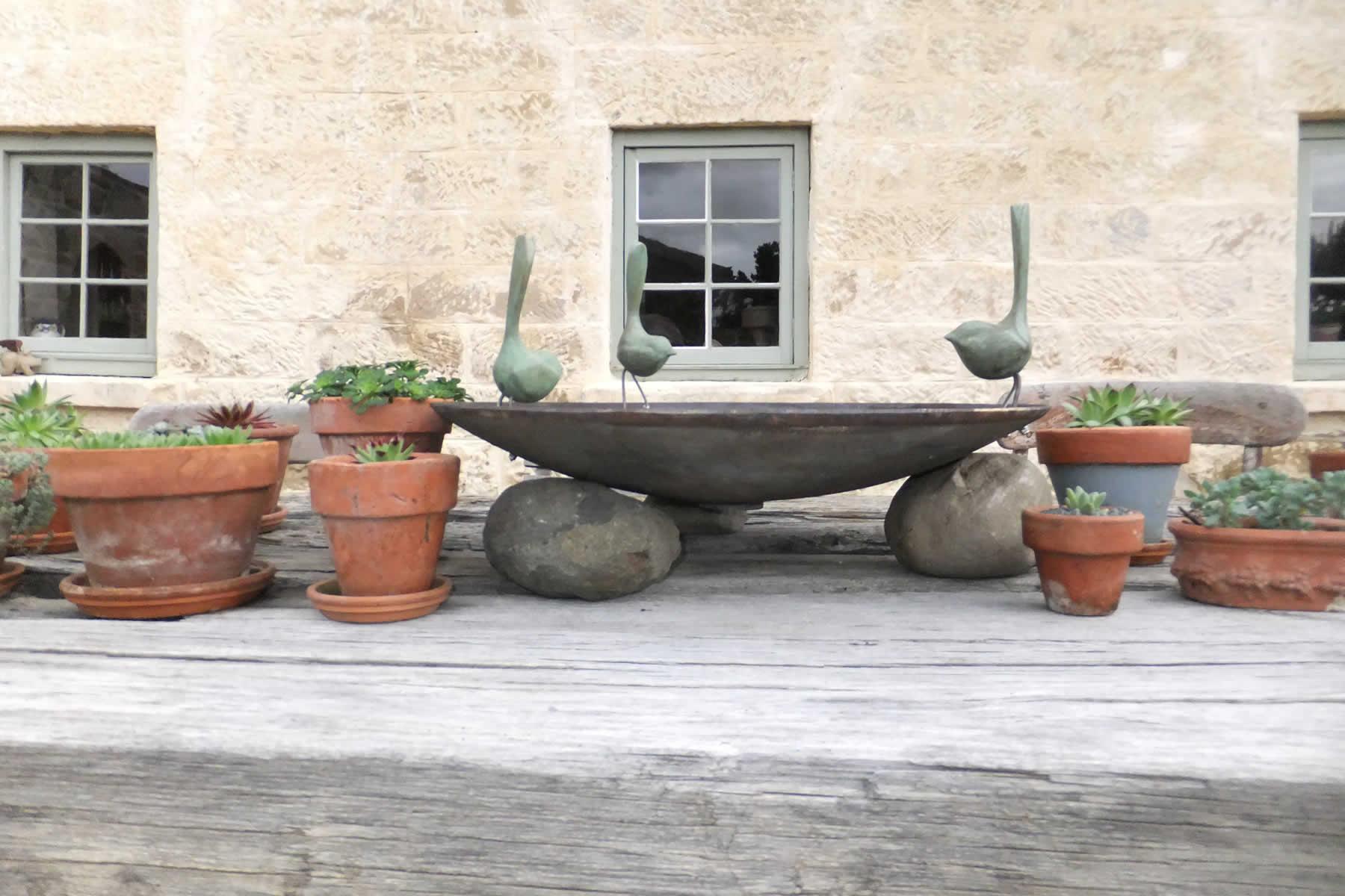 Bronze bowl three Wrens Bird Bath