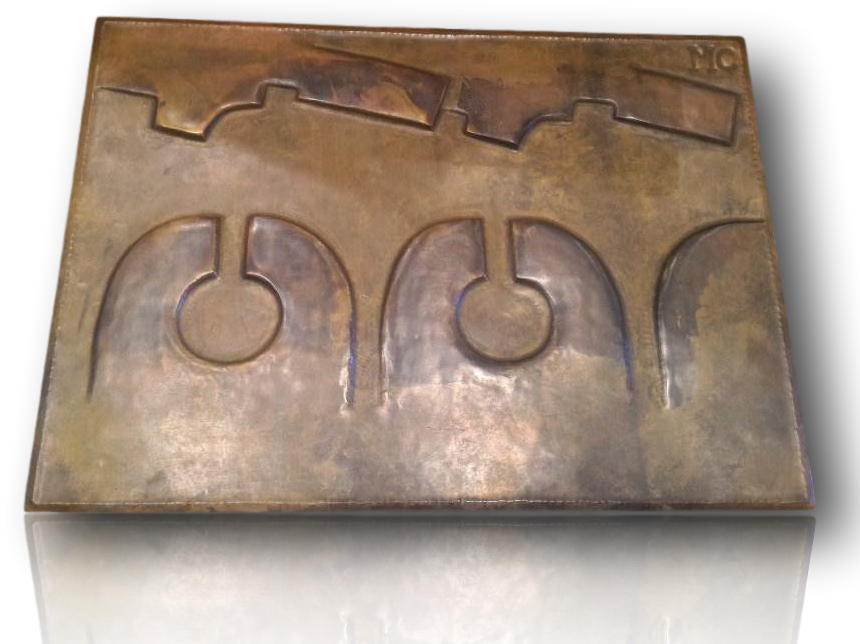 "Large Bronze panel ""The coming"""