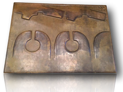 """Large Bronze panel """"The coming"""""""