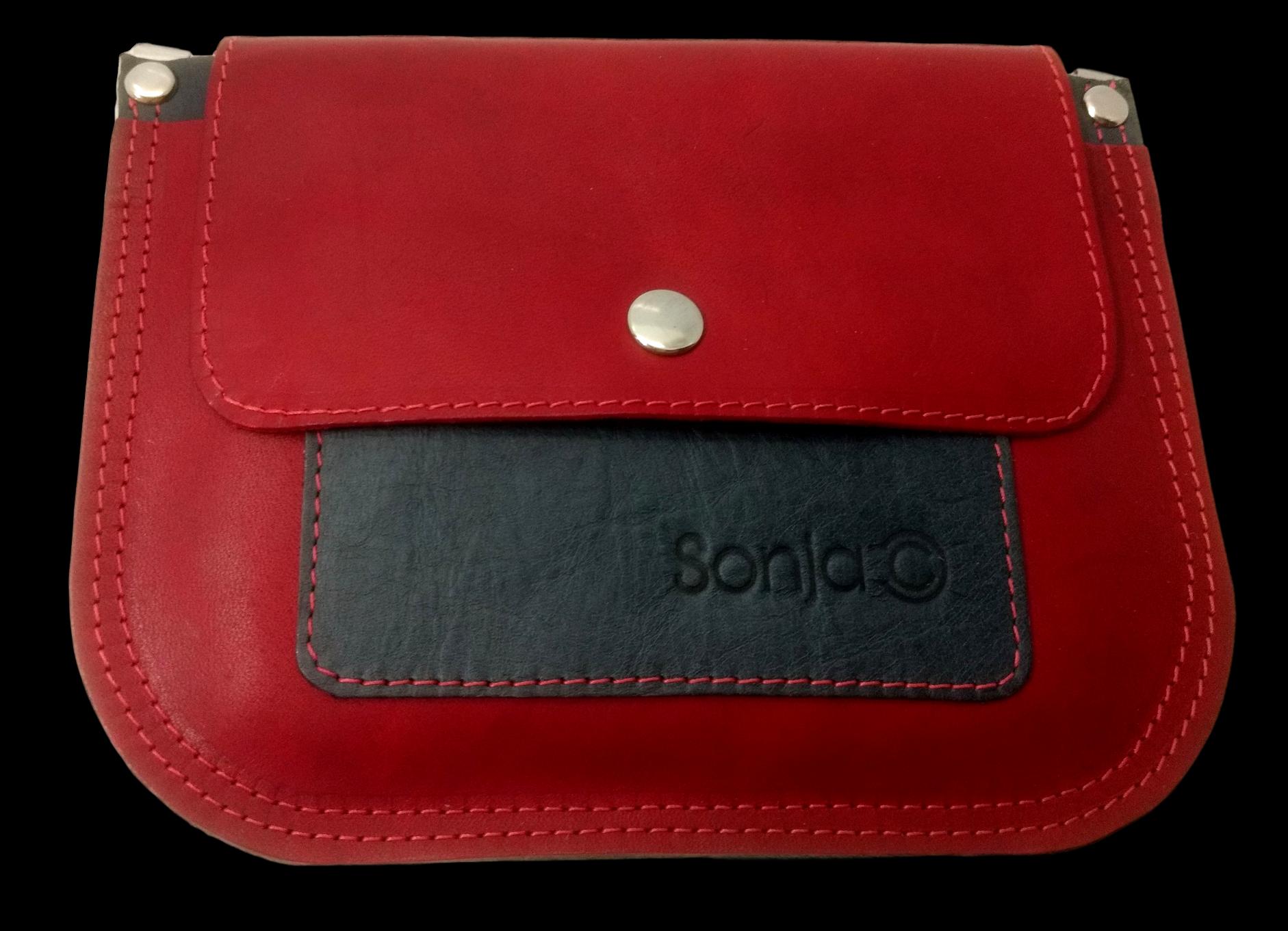 Red & Charcoal Leather Pocket Bag