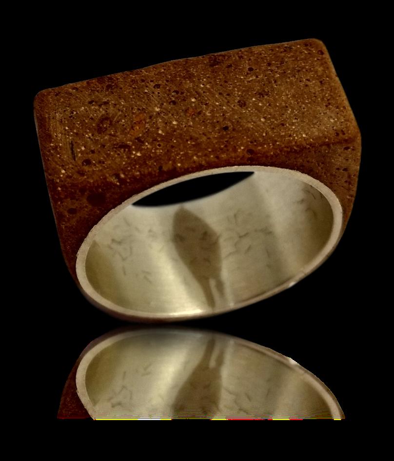 Convict brick silver ring