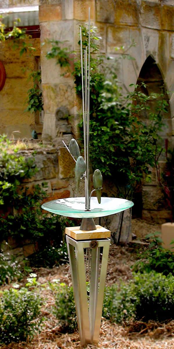 Stainless Steel Bird Bath reeds