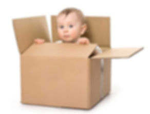 Child in box moving house