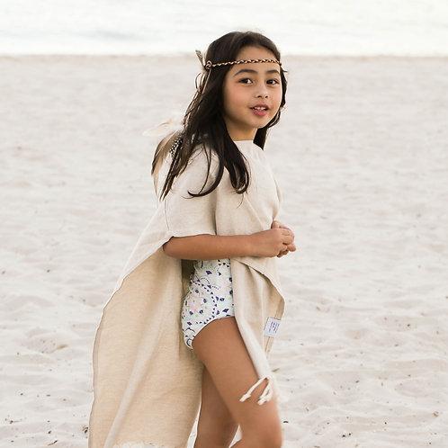 Hooded Poncho Towel   Milky Beige