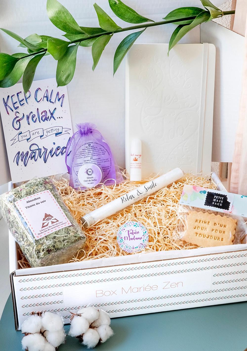 Box Mariée Zen créée par My Wedding Box Suisse (www.myweddingbox.ch) Cadeau Future Mariée. Cadeau mariage original. Cadeau artisanal et local.