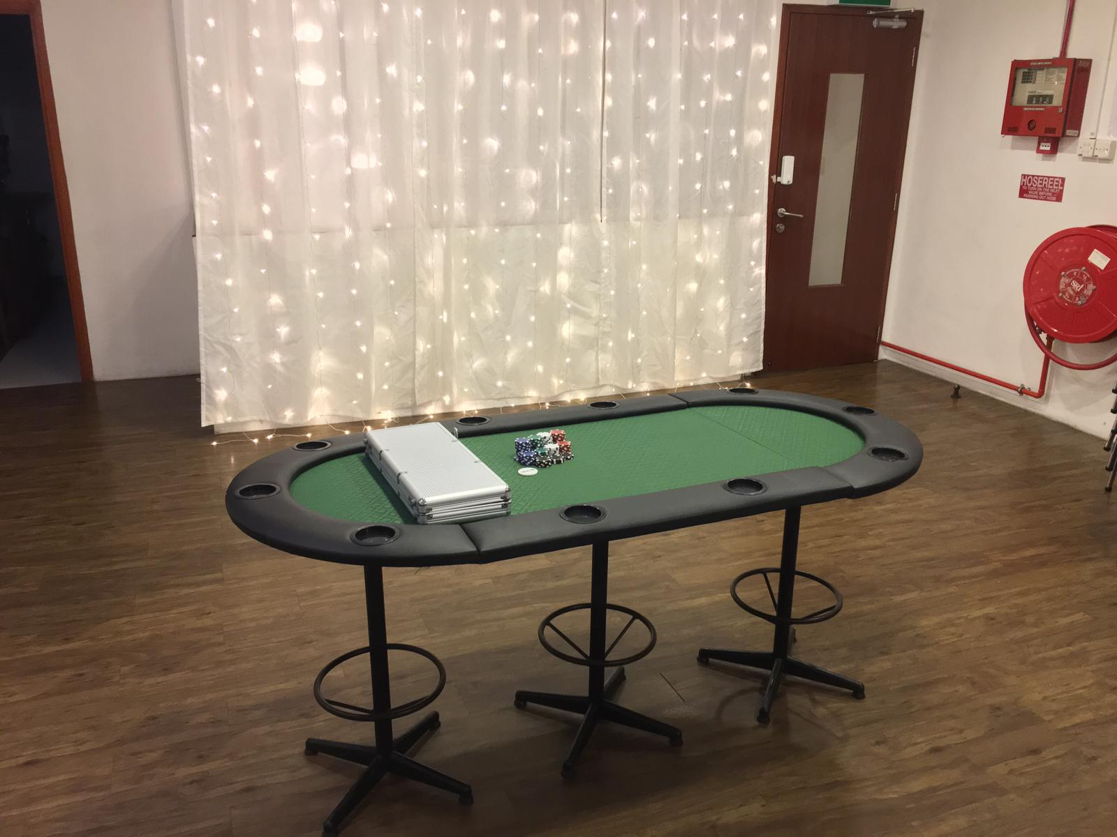 poker table in event space rental