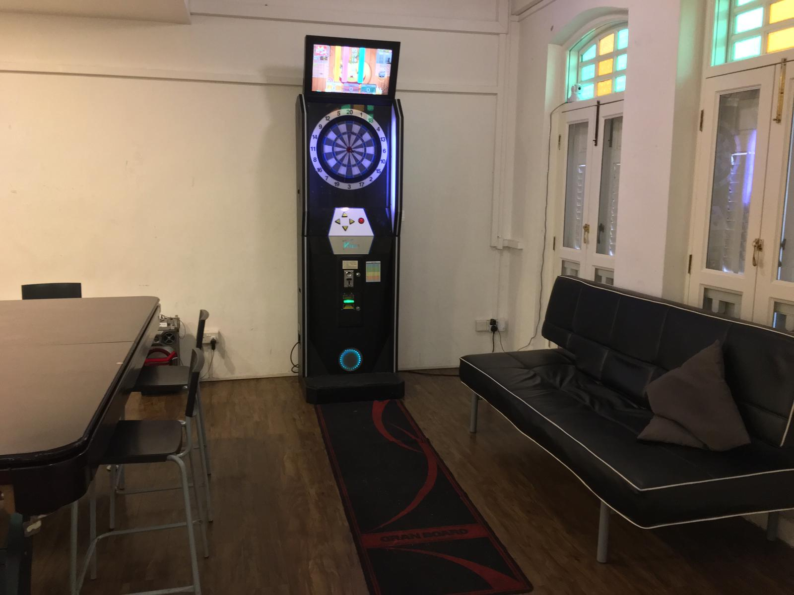 Darts machine in birthday venue