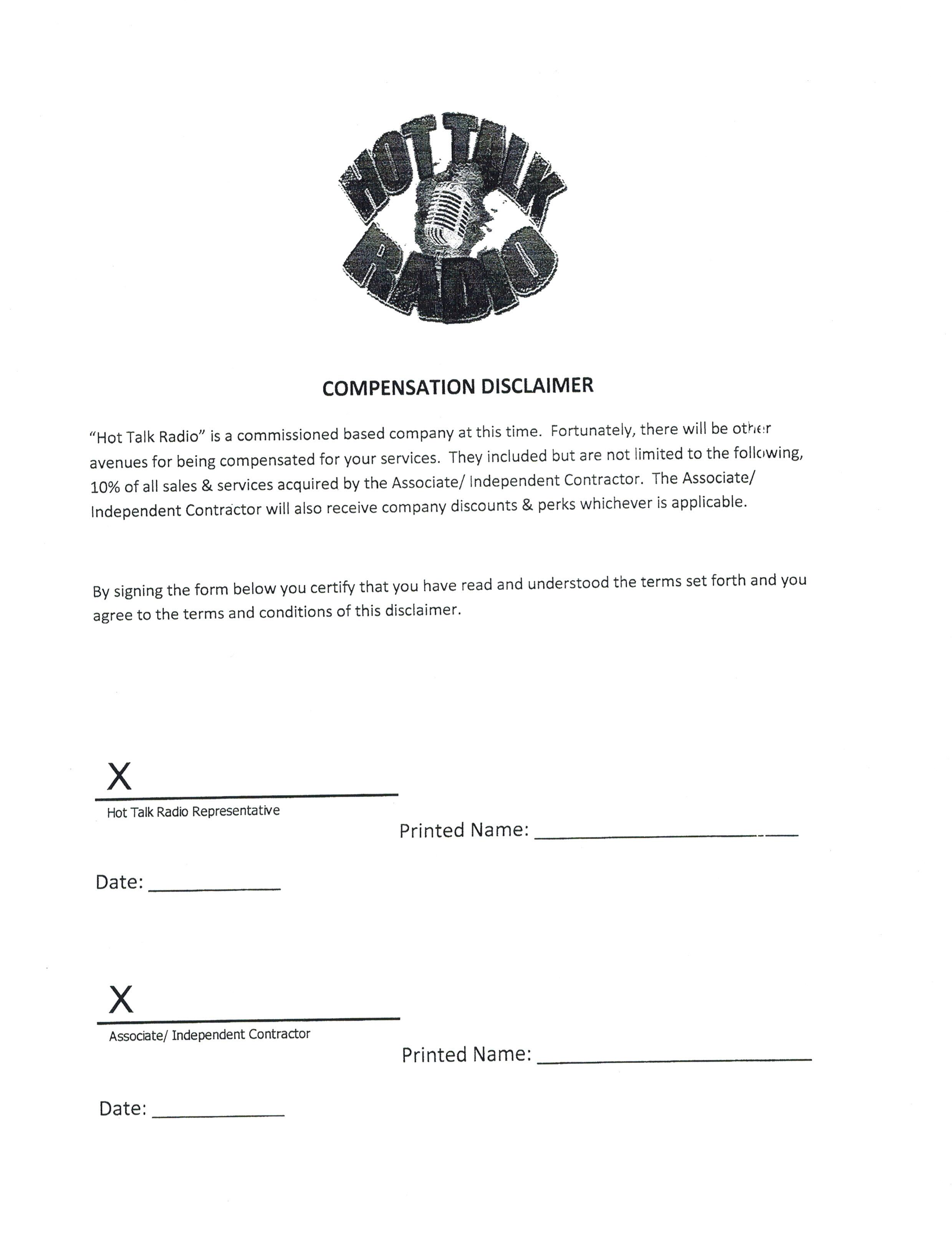 Compensation Disclaimer