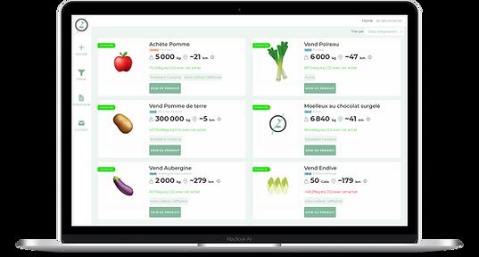 écran accueil annonces Foodologic
