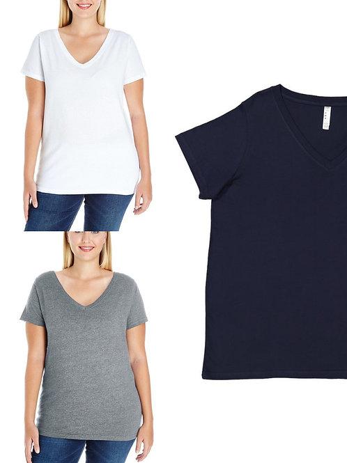 Ladies' Curvy V-neck T-shirt