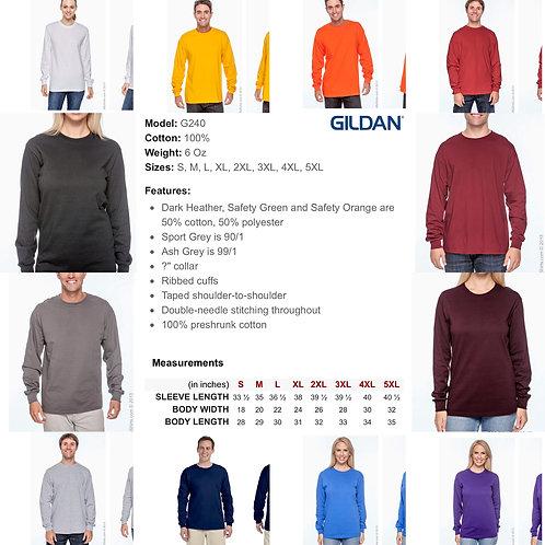2x-5x Unisex Gildan Long Sleeve Shirt
