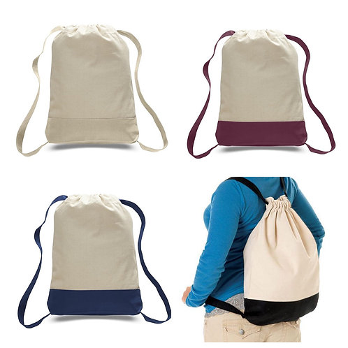 Canvas Drawstring Two-toned Backpack