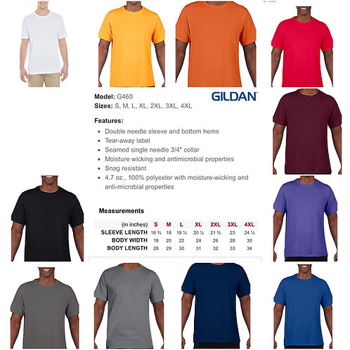 2x-4x Unisex Gildan Performance (moisture wicking) T-shirt
